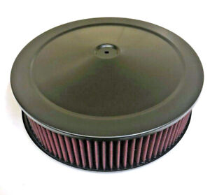 14 X 4 Black Round Air Cleaner Flat Base Washable Filter Chevy Ford Street Rod