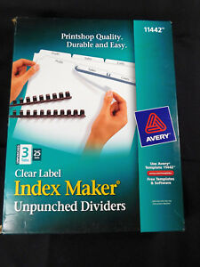 Avery 3 Tab Clear Label Index Maker Unpunched Dividers 25 Sets 11442 New