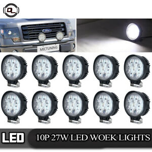 10pack 27w Round Led Work Light Bar Offroad Driving Spot Lamp Tractor Boat Truck