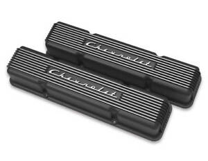 Holley Gm Licensed Valve Covers 241 108 Sbc Finned Black Chevrolet