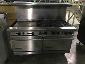 60 American Range Dual Oven 6 Burners 18 Griddle