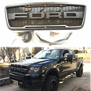 New 2004 2008 Black Raptor Style Front Hood Grille For Ford F150 With Letters
