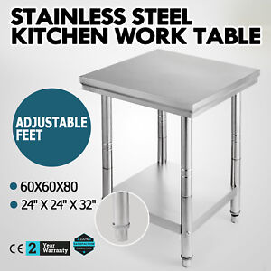 24 X 24 Stainless Steel Kitchen Work Prep Table House Adjustable Feet Business
