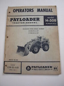 Ih International Hough H 50b Front end Wheel Pay Loader Tractor Operator Manual
