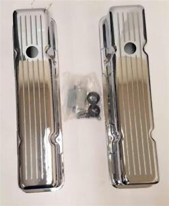 58 86 Small Block Chevy Chrome Aluminum Ball Milled Valve Covers Tall 327 350
