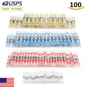 100pcs Solder Seal Heat Shrink Butt Wire Connector Copper Waterproof Terminal Ca