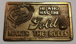 Rare Bling Gold Tone Business Card the Golden Rule He Who Has The Gold
