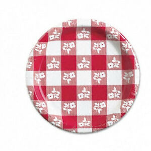 Paper Plates 17 8cm Diameter Red Gingham Pattern 25 pack Shipping Included