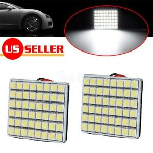 2x White 48 Smd 5050 Led Panel Lights Dome Map Interior Lamp Adapters 12v