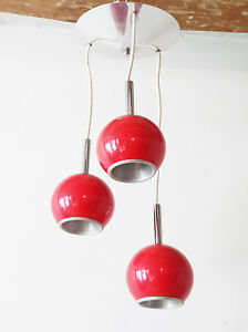 Chandelier Suspension Ceiling Light Vintage 3 Balls Red Steel 1970 Space Age 70s