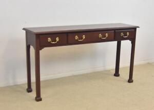 Mahogany Three Drawer Sofa Console Table Brass Hardware