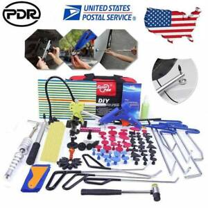 Us Full Kit Pdr Push Rod Hooks Crowbar Dent Removal Paintless Dent Repair Tools