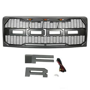 Fit 2009 2014 Ford F 150 F150 Grille Hood Grill Raptor Style Front Bumper light