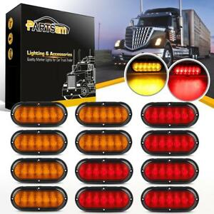 High low Brightness 6in Stop Turn Tail Light Universal 6led 6 Red amber Light