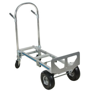 2in1 Aluminum Hand Truck 770lbs Convertible Foldable Dolly 4wheel Cart Home Use