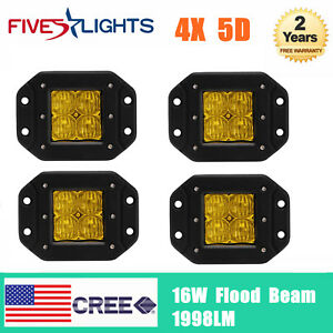 4x 16w Cree Led Work Light 5d Flood Amber Cube Driving Fog Flush Mount Suv Jeep