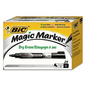 Bic Low Odor Bold Writing Dry Erase Marker Black 24 Markers bicgelitp241bk