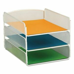 Safco Desk Tray Three Tiers Steel Mesh Letter White saf3271wh
