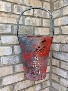 Tall Antique Fire Water Bucket Lovely Patina