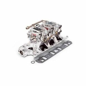 Edelbrock Performer Rpm Dual Quad Air gap Manifold And Carburetor Kit 2035