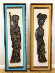 Authentic Vintage Witco Mid Century Modern Monk Geisha Tiki Large Wall Art 2