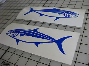 Two Blue 8 Yellowtail Fish Decals Fishing Truck Car Boat Window Bumper Sticker