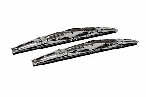 18 Inch Chrome Double Dual Blade Universal Windshield Wiper 2pc Set All Season