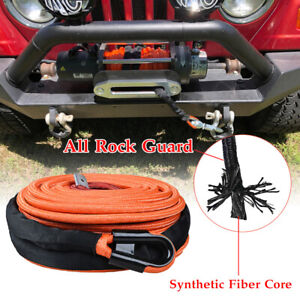 3 8 95 Orange 22000 Lbs Synthetic Winch Rope Line Cable W All Rock Guard 7 16