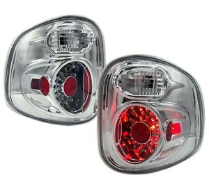 Chrome 1997 2003 Ford F 150 F150 Flareside Led Look Tail Lights Brake Lamps