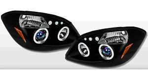 Fits Chevy Cobalt 2005 2010 Blue Projector Headlights Black With Halo