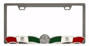 Mexican Flag With Coin Chrome Heavy Duty Metal License Plate Frame