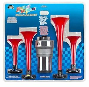 Wedding March Musical Air Horn Kit 4 Trumpets 12v Compressor Wolo