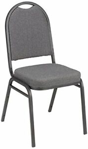 Fabric Stacking Banquet Chair With Round Back 18 Seat Height Gray Pack Of 4