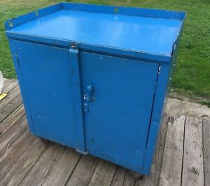 Blue Heavy Duty Steel Storage Cabinet Rolling Industrial Kitchen Island Vintage