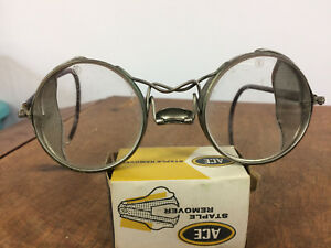 Vintage Antique Metal Round Circle Safety Glasses Goggles Industrial Steampunk