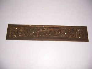 Antique Vintage National Cash Register Brass Name Plate B32 Nameplate