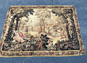 Antique Belgian Scenic Hanging Tapestry Grand Tour C1850 Old Continental Textile