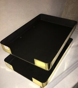 Knoll Extras Office Tray Letter Pencil Cup Gold Metal Modern Decor Mcm Desk 80s