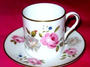 Royal Worcester Marissa Pattern Bone China Coffee Cup Saucer Demi Pink Roses