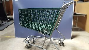 10 Large Wire Frame Metal Grocery Shopping Cart Green Store Basket Retail Shop