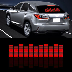 Car Sticker Music Rhythm Led Flash Light Sound Activated Equalizer Red Lamp Kit