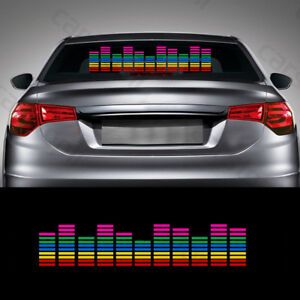 Car Sticker Music Rhythm Led Flash Light Sound Activated Equalizer Rgb 45x11cm