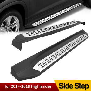 For 2014 2018 Toyota Highlander Aluminum Running Board Side Step Nerf Bar Pair