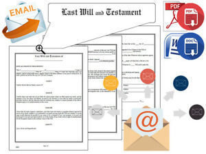 Last Will And Testament Forms Email Digital Delivery Pdf Docx Format