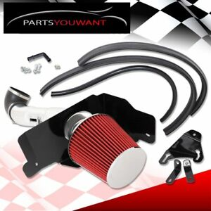 For 05 09 Ford Mustang V8 Cold Air Intake Heat Shield Chrome 3 5 Air Filter Red