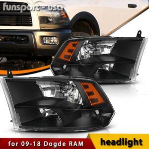 For 2009 2018 Dodge Ram 1500 2500 3500 Black Quad Headlights Assembly Lamp Lh rh
