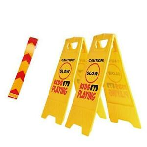 2 Pack Kid Playing Sign Caution Children Safety Sign free Reflective Tape