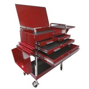 Deluxe Service Cart With Locking Top 4 Drawers And Extra Storage Red New