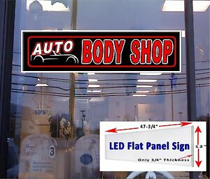 Led Sign Auto Body Shop Window Sign 48x12 Neon Banner Alternative New Led