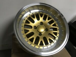 Set Of Four 15x8 0 0 Gold Lm20 Style Big Wide Lip Aggressive Rims Fits Civic